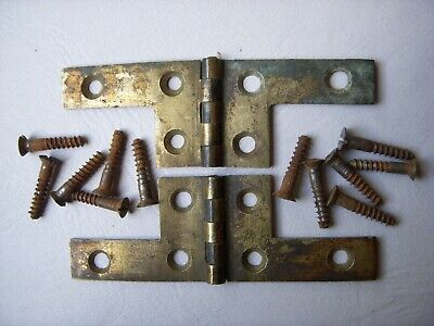 Pair of Antique Writing Slope Brass Hinges. Spare Parts