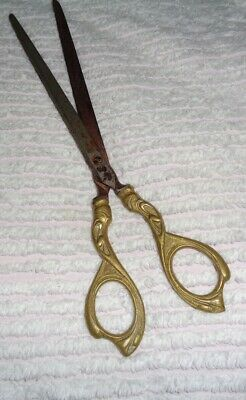 "Vintage Scissors Ornate Solid Brass Handles 8 3/4"" inches Long"