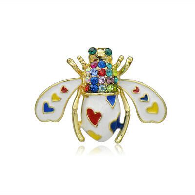 Cute White Bee Brooch Pin Gold Plated Crystal Heart Enamel Brooches For Women