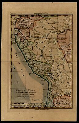 South America Peru Quito 1780 Bonne interesting detailed map