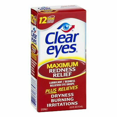 Clear Eyes Maximum Redness Relief Eye Drops 0.5 fl oz 15 ml EXP 09/2021