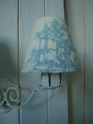 **Sale** French Toile De Jouy Candle Lampshades** Pale Duck Egg & White