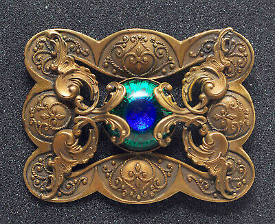 Large Antique Victorian Art Nouveau Evil Eye Brooch Pin Ornate Jewlery Bronze