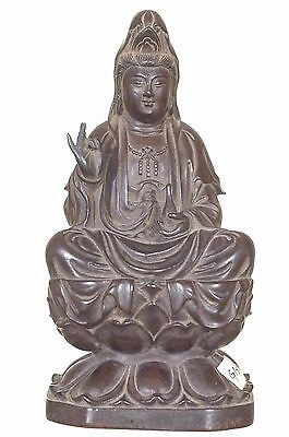 Vintage Chinese Rosewood Carved Statue Figure Kwan / Guan Yin on Lotus