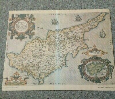 A Map of The Island of Cyprus (Book Print) Text on the back - Please See Photos