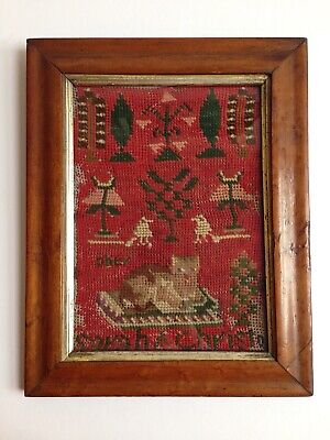 Sweet Antique Victorian Childs First Sampler - Cat By Sarah Christo