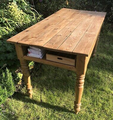 Antique Victorian Edwardian Farmhouse Kitchen Pitch Pine Dining Table