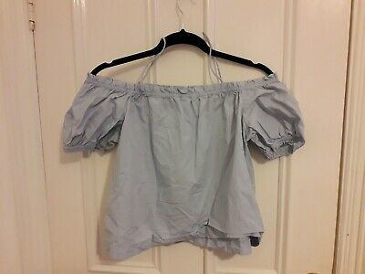 1d383b6d8d0 H&M Conscious Baby Blue Off The Shoulder Ruffle Crop Top Size 8