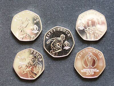 2019 50pence ISLE OF MAN ** UNC ** - ICC Cricket World Cup FULL SET (5 Coins)