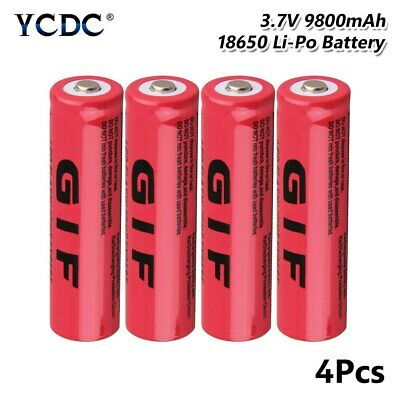 4Pcs Pointed Top GIF 18650 Rechargeable Batteries 3.7V 9800mAh Lithium Battery