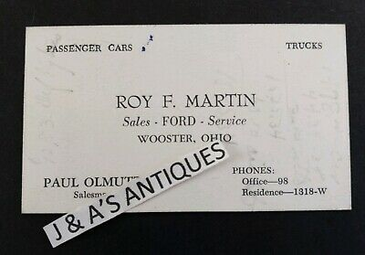 Vintage FORD Vehicle Car Salesman Business Card ~ Wooster Ohio