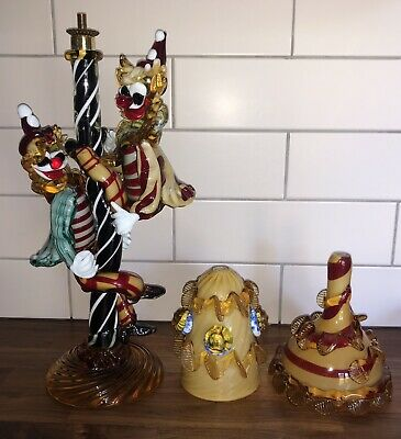 Rare Large Vintage Murano Glass Table Lamp - Pair Of Clowns Climbing Lamp Post