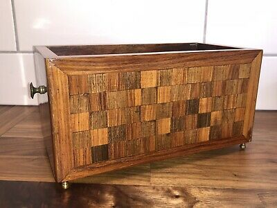 ANTIQUE 19thC ROSEWOOD OPEN BOX WITH CHECKER PANEL