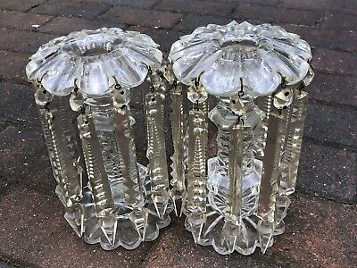 Pair Of Antique Victorian Crystal Clear Deep Cut Glass Mantel Lustres