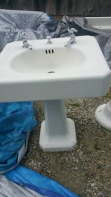 Rare Antique Vintage Pedestal Porcelain Cast Iron Sink