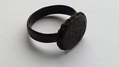 Ancient bronze signet. Bronze ring.