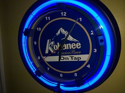 Kokanee Beer Bar Tavern Man Cave Blue Neon Wall Clock Sign