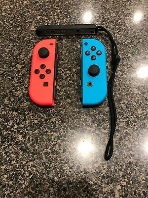 Official Nintendo Switch Left & Right Joy Con Controllers Neon Red Blue W/Strap