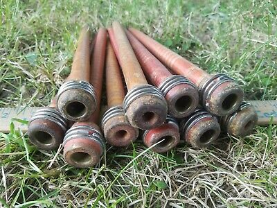 Lot of 10 Vintage Wooden Industrial Textile Thread Spindles Bobbins 8 3/4""