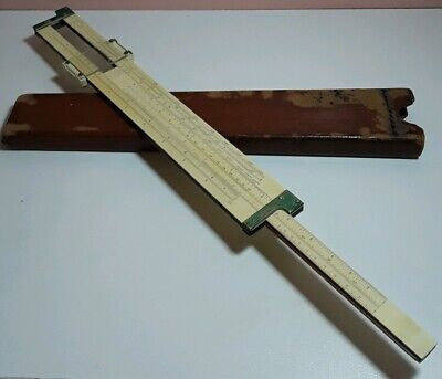 Vintage Keuffel Esser 4092 Mahogany Slide Rule 1908 With Leather Case Cellouse
