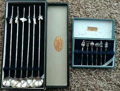 Vintage Sakai Silver Smith's Sterling Silver Cocktail Spoons Stirers Toothpicks