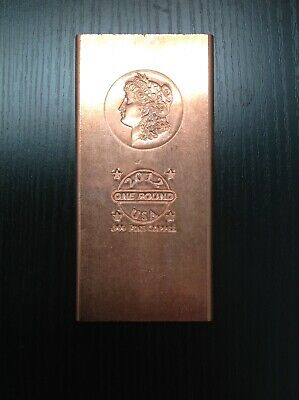 """Morgan"" One Pound .999 Copper Fine Bar 2012 design very rare"