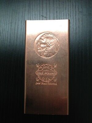"""Indian Head "" One Pound .999 Copper Fine Bar 2012 design very rare"