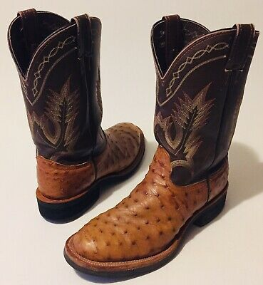 863f5f7f041 LARRY MAHAN MEN'S Brown/Tan Full Quill Ostrich Leather Roper Cowboy Boots  10D