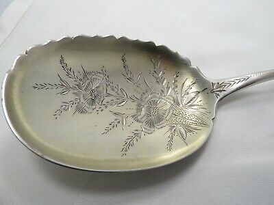 W. Faber & Sons Sterling Silver Bright Engraved Art Nouveau Serving Spoon  9-1/2