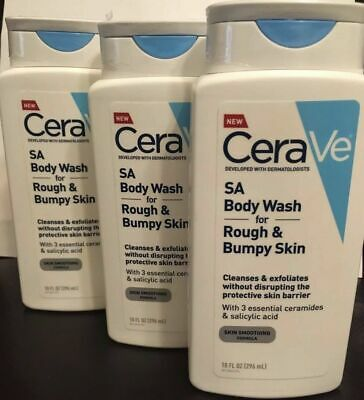 3 Pack Sealed CERAVE SA BODY WASH FOR ROUGH BUMPY SKIN 10 OZ EACH Free Shipping