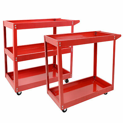 2 3 Tier Trolley Tool Cart  Parts Mechanic Storage Organizer Warehouse Red