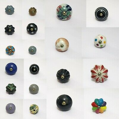 Ceramic Door Knobs Handles Drawer Cupboard Wardrobe porcelain china Pulls Brass