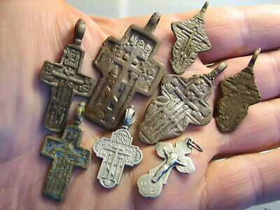 Mix ! Late Medieval Orthodox  Bronze + Vintage Sterling Silver Crosses! #1249