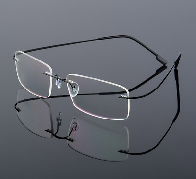 Frameless Reading Glasses Pure Titanium Frame Classic Optical Myopia Lens
