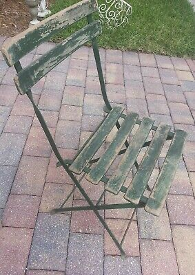 Antique/Vintage Wrought Iron and Wooden Folding Bistro Garden Chair