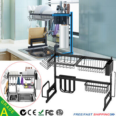 2-Tier Dish Drainer Rack Storage Drip Tray Over Sink Drying Draining Plate Bowl