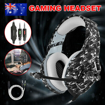 Stereo K1 Mic Bass Surround Gaming Headset for Laptop PC PS4 Xbox One Grey LD