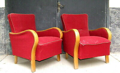 Art Deco Armchairs, Club Cocktail Chairs. Antique Vintage Halabala 1920 1930
