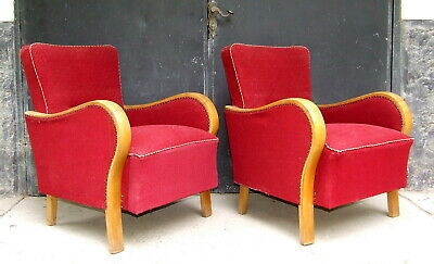 Art Deco Armchairs, Club Cocktail Chairs. Antique Vintage Halabala 1920s 1930s