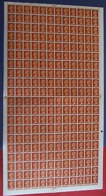 GB MNH SG.723 COMPLETE SHEET OF 120 1/2d ORANGE-BROWN WITH 2 PHOS.BANDS
