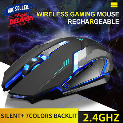 2.4GHz Gaming Mouse Ergonomic LED Light USB Optical Wireless Rechargeable