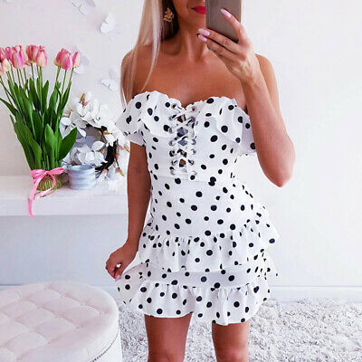 Fashion High Waist Ruffle Backless Dress Off Shoulder Polka Dots Sundress S-XL