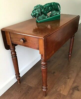 Antique, Early 1900's, Mahogany, Pembroke Table With Side Drawer.