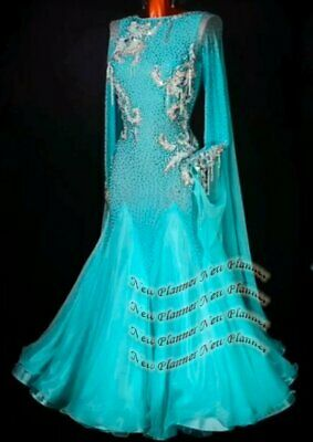 B8151 women Ballroom Tango Waltz dance Competition dress UK 12 US 10 jade