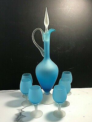 Italian, Blue Frosted Glass Decanter With Twist Cone Stopper & 6 Liqueur Glasses
