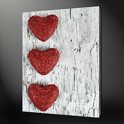 Three Hearts Canvas Print Picture Wall Art Free Fast Postage Variety Of Sizes