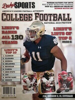 LINDYS SPORTS COLLEGE FOOTBALL PREVIEW 2019 athlon illustrated street and smith