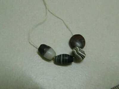 Ancient Agate 4 beads Bactrian 300 BC #BE1211