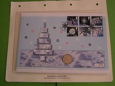 ISLE OF MAN 2003 BU FIFTY PENCE 50p COIN COVER SNOWMAN & JAMES