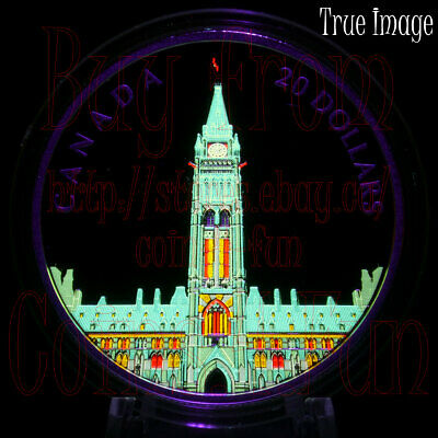 Low COA 2019 Lights of Parliament Hill $20 1OZ Pure Silver Glow-In-The-Dark Coin